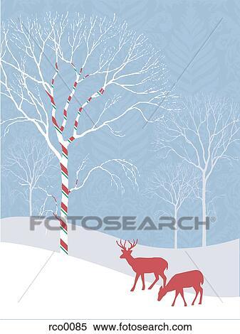 banque d 39 illustrations silhouette de deux cerfs communs dans a neigeux paysage a. Black Bedroom Furniture Sets. Home Design Ideas