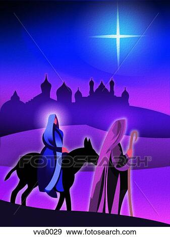 Mary And Joseph On A Donkey Clipart Stock illustration of joseph and ...