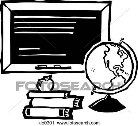 A Chalkboarda Globe And Stack Of Books With An Apple On Top
