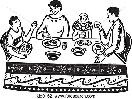 Clip Art of A family eating at the table kle0162 - Search ...