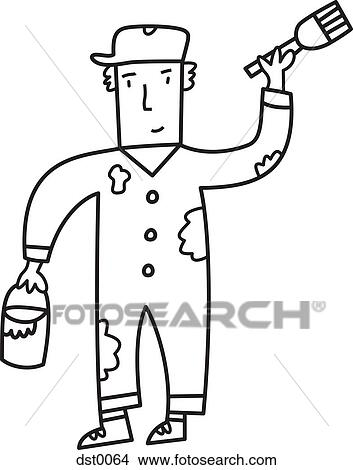 Drawings of A house painter dst0064 - Search Clip Art ...