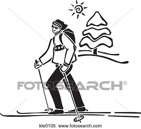 Crossed Skis Drawing a Person Cross Country Skiing