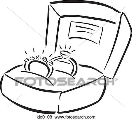 Eheringe clipart schwarz weiß  Stock Illustration - verlobung, und, eheringe, ring, kasten ...