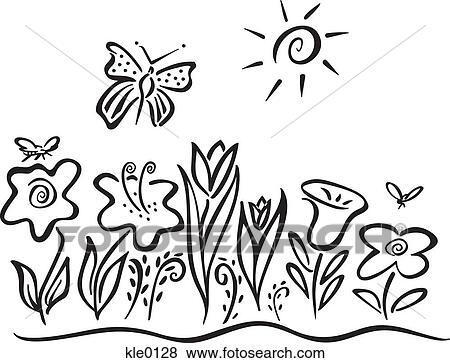 失量图库 - a, 蝴蝶, 飞行结束, 花
