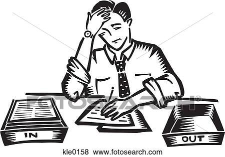 Arquivos de Ilustração - um, homem, cansado, com, trabalho ...