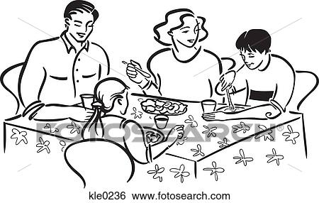 Stock Illustration of A family eating a meal together kle0236 ...