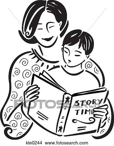 A mother reading a story book Two Children Reading Clipart Black And White