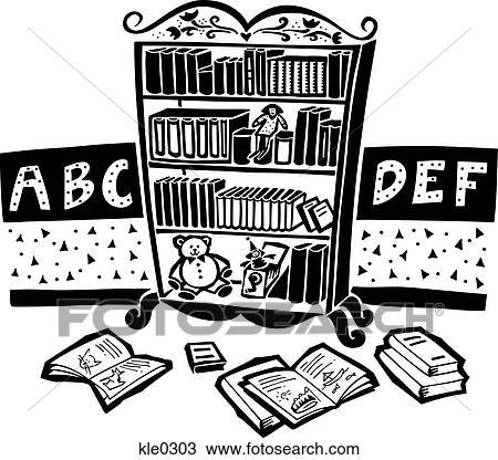 Bücherregal clipart schwarz weiß  Zeichnung - a, bücherregal, in, a, childrens, zimmer kle0303 ...