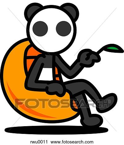 Clipart of A panda sitting in a chair holding a bamboo ...