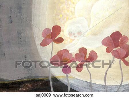 Stock illustration a wenig engel r ber fliegen blumen for Blumen fliegen