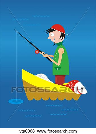 Stock Illustration Of A Man Fishing In A Boat On The Water Vta0068 Search EPS Clip Art