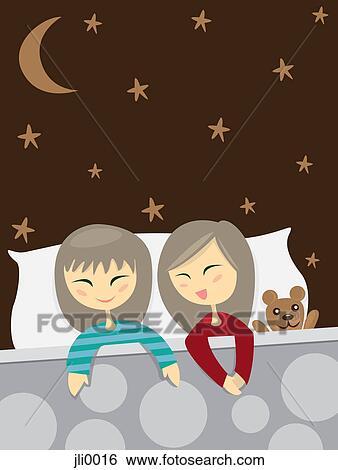 banque d 39 illustrations deux petites filles conversation dans lit jli0016 recherche de. Black Bedroom Furniture Sets. Home Design Ideas