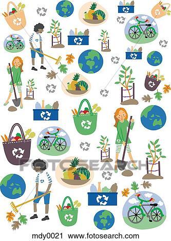 Clipart a mod le pour jour terre enfants recyclage la terre et b - Recyclage pour enfant ...