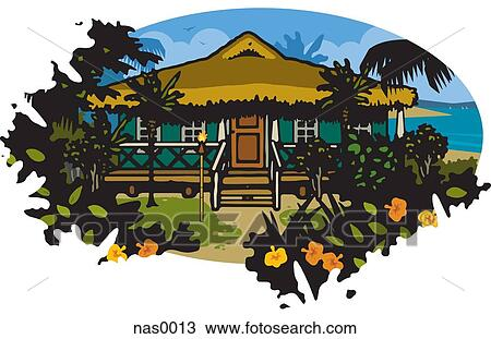 Drawing of a tropical beach house by the ocean nas0013 for Beach house drawing