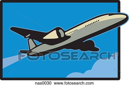 Stock Illustrations of An airplane in blue skies nas0030 - Search ...
