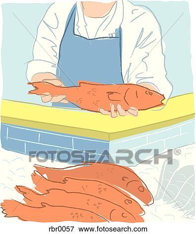 Banque d'Illustrations - a, poissonnier, mettre, fish, sur ...