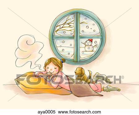 스톡 일러스트 - a, 어린 소녀, 즐기, a, 뜨거운 마실 것, 와, 눈 ...