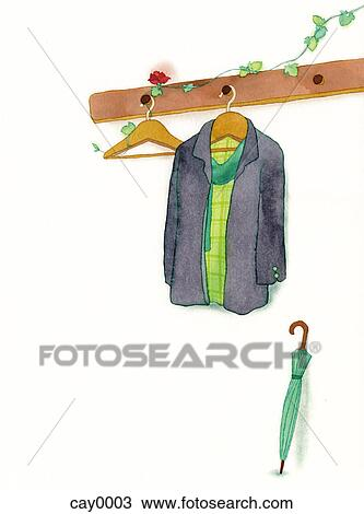 Drawing Of A Painting Of A Coat Hanging On A Rack Cay0003