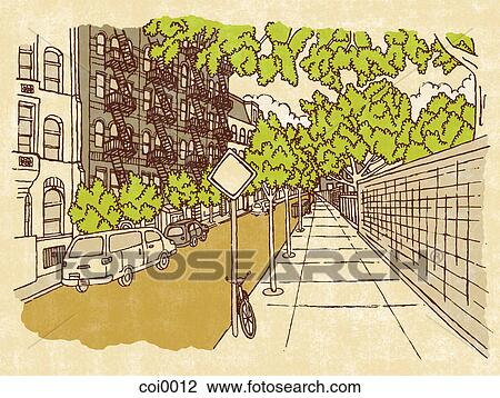 Urban Street Drawings an Urban Street Scene