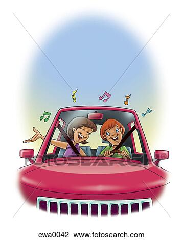 Clip Art Of A Couple Singing In A Car Cwa0042 Search