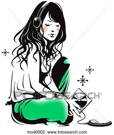 Clip Art of A girl listening to a music mod0002 - Search ...