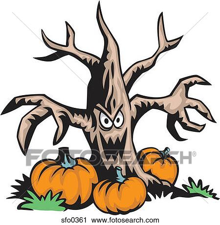 Scary Face Clipart Scary Cartoon Trees With Faces