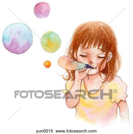 Blowing Bubbles Drawing a Young Girl Blowing Bubbles