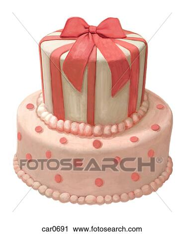 Clipart of 3D image of tiered birthday cake car0691 Search Clip