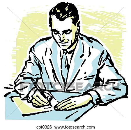 stock illustration of a man writing at a desk cof0326 search clip rh fotosearch com Female Writing Clip Art Pen Writing Clip Art