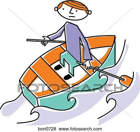 Row Boat Illustration Man Rowing Boat