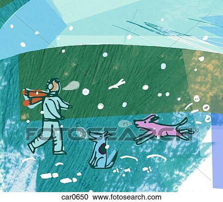 Galleria di illustrazioni uomo con cani in - Animali in inverno clipart ...