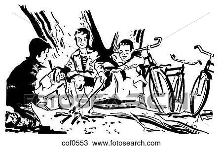 zeichnung a schwarz wei version von a gruppe jungen ungef hr a zelten feuer cof0553. Black Bedroom Furniture Sets. Home Design Ideas