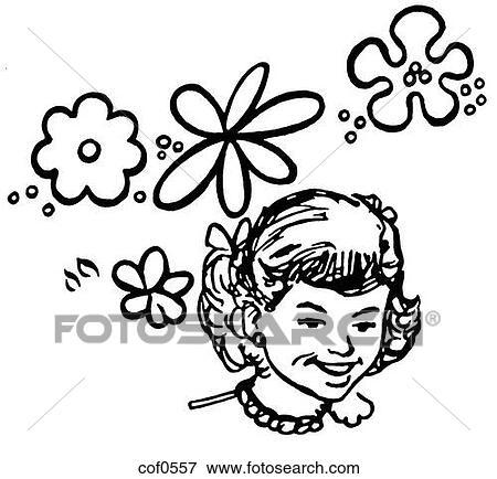 스톡 일러스트 - a, 검정과 백색, 버전, 의, a, 초상, 의, a, 어린 ...