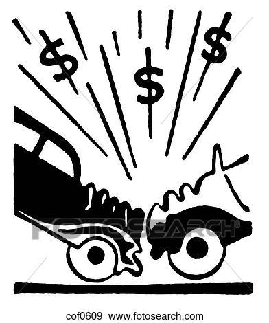 Banque d 39 illustrations a noir blanc version de une illustration de a accident voiture - Accident de voiture dessin ...