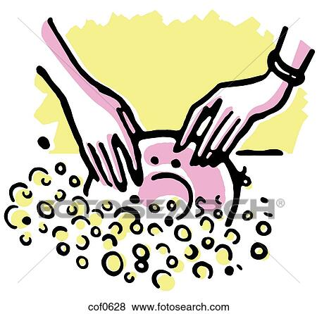 Stock Illustration of Washing the dishes cof0628 - Search ...