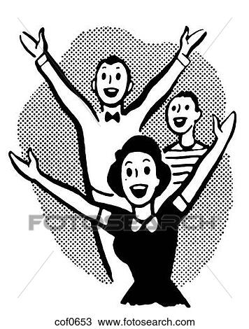 Drawing - A black and white version of a group of excited young people    Excited Person Clip Art Black And White