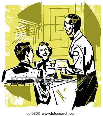 クリップアート - a, 型, イラスト, の, a, 1対が食事をする, ∥において∥, a, レストラン. Fotosearch - クリップアート、イラストポスター、スケッチとベクトル画像EPSグラシックスイメージの検索