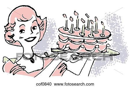 banque d 39 illustrations a vendange illustration de a tenue femme a g teau anniversaire. Black Bedroom Furniture Sets. Home Design Ideas