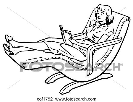 Deck Chairs Drawing Relaxing on a Deck Chair