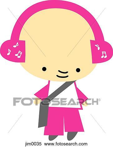 스톡 일러스트 - 어린 소녀, 음악을 듣는 것, 통하고 있는, 헤드폰 ...