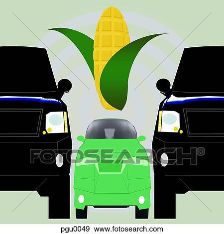 stock illustration gr nes auto zwischen zwei gro derjenig mit maiskolben pgu0049. Black Bedroom Furniture Sets. Home Design Ideas