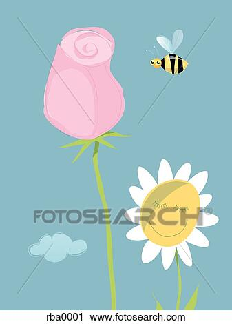 Clipart ein abbildung von a biene fliegen per for Fliegen in blumen
