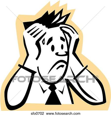 Clip Art of Worried Man sfo0702 - Search Clipart ...