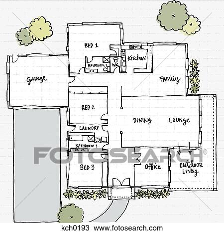 Drawing of Floor plans of a house kch0193 Search Clipart
