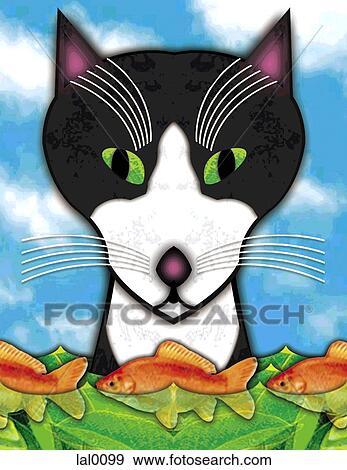 Banque d 39 illustrations a chat regarder poisson rouge for Prix poisson rouge maxi zoo