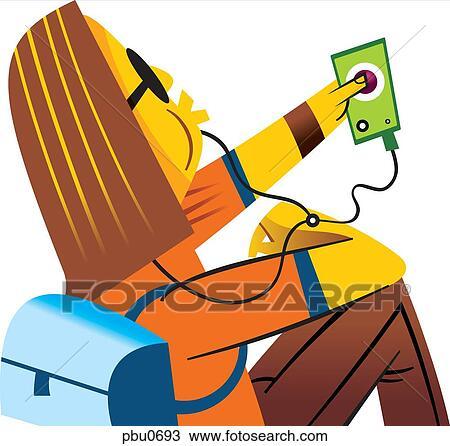 dessin a femme couter musique sur elle portable joueur musique pbu0693 recherchez des. Black Bedroom Furniture Sets. Home Design Ideas