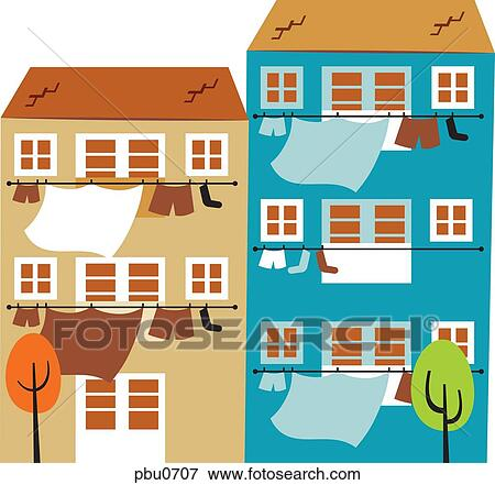 Stock Illustration Of Two Apartment Buildings With Clothing