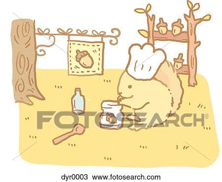 手绘图 - a, 松鼠, 带