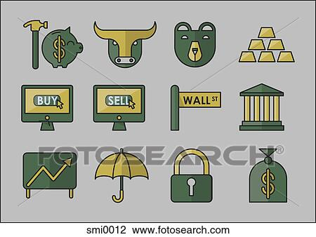 Clip Art of wall street icons smi0012 - Search Clipart ...
