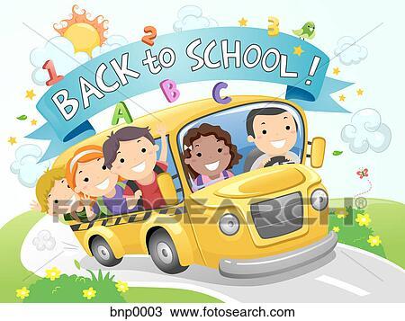 手绘图 孩子, 在上, a, 学校公共汽车